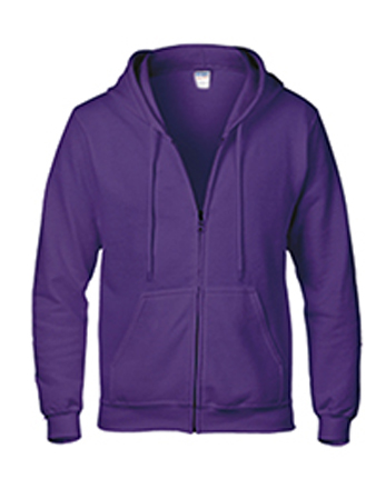 purple Gildan heavy blend zip up hoodie