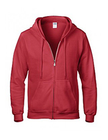 Red Gildan heavy blend zip up hoodie