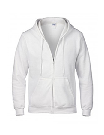White Gildan heavy blend zip up hoodie