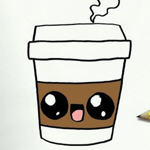 Happy Coffee Cup drawing