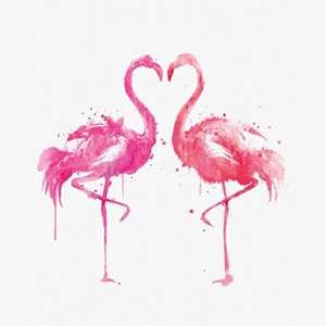 Valentine's day flamingo art drawing